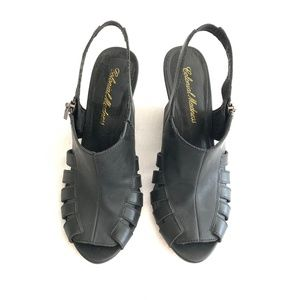 COLONIAL MADNESS Black Side Zip Sling Back Wedges